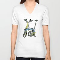 brompton V-neck T-shirts featuring My brompton standing up by Swasky