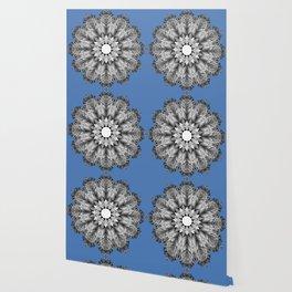 Abstract icy winter flower mandala Wallpaper