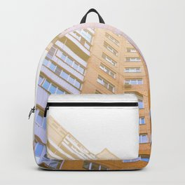 view of a multi-storey building from below Backpack