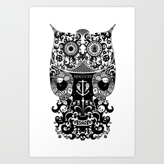 The Old Owl  - Black Art Print