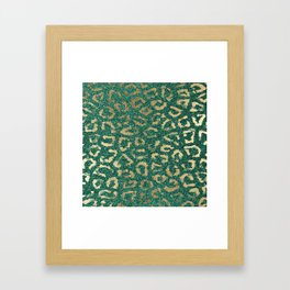 Forest green gold foil trendy animal print glitter Framed Art Print