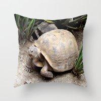 tortoise Throw Pillows featuring Tortoise by lennyfdzz