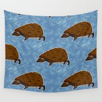 hedgehog Wall Tapestries featuring Hedgehog by Skekfaer