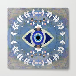 Evil Eye Protective Turkish Mandala Print Metal Print