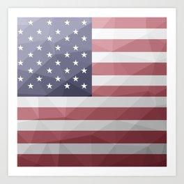 USA flag Red White Blue Geometric Mesh Pattern Art Print