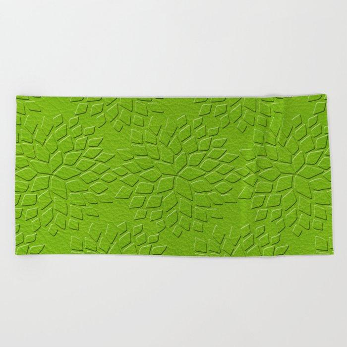 Leather Look Petal Pattern - Greenery Color Beach Towel