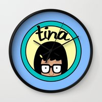 tina crespo Wall Clocks featuring Tina by Page394
