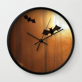 Halloween Bats In The Woods Silhouette Ultra HD Wall Clock