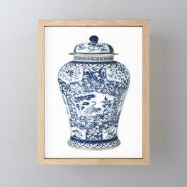 Blue & White Chinoiserie Cranes Porcelain Ginger Jar Framed Mini Art Print
