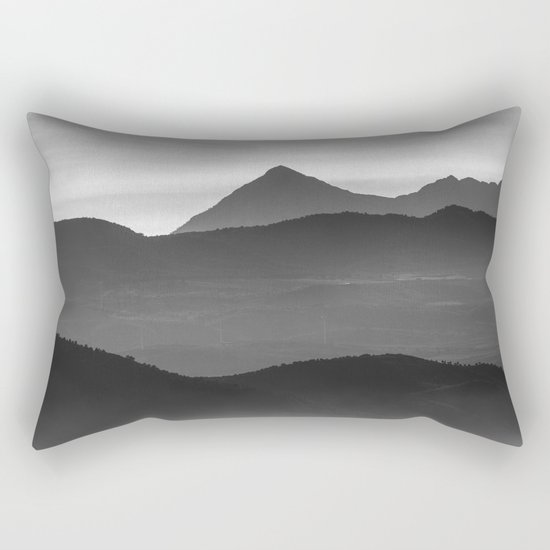 """Misty mountains"". Sunset. BW Rectangular Pillow"