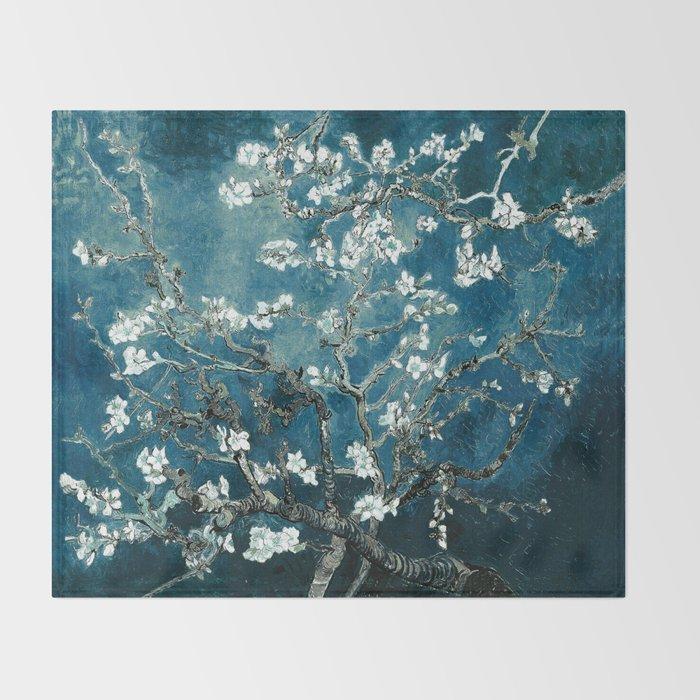 Van Gogh Almond Blossoms : Dark Teal Throw Blanket