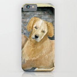 Two Labs Cozy By The Fire iPhone Case