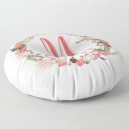 Personal monogram letter 'M' flower wreath Floor Pillow