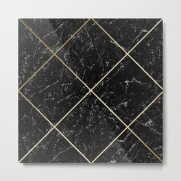 Gold & Black Marble 01 Metal Print