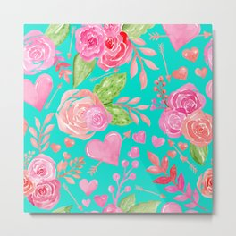 Watercolor Hearts + Flowers On Turquoise  Metal Print
