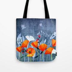 Summer night- Shadow of a Poppy meadow- Flowers on #Society6 Tote Bag