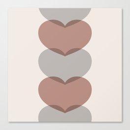 Hearts - Cocoa & Gray Canvas Print