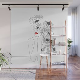 Minimal Line Art Girl with Sunflowers Wall Mural