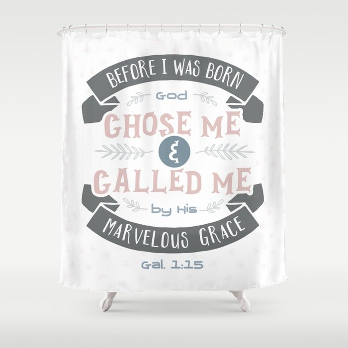 Called Hand Lettered Bible Verse Shower Curtain