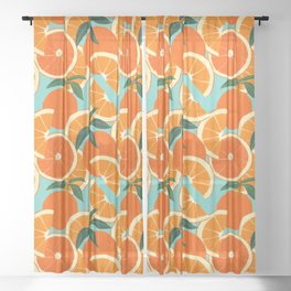 Orange Harvest - Blue Sheer Curtain