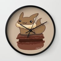 macaron Wall Clocks featuring Eevee Macaron by Mayying