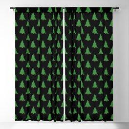 Simple Pines - Black Blackout Curtain