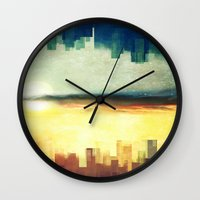 cities Wall Clocks featuring Parallel cities by SensualPatterns