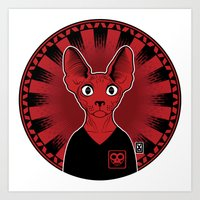 sphynx Art Prints featuring Sphynx! by Visually Odd