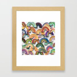 Watercolor Rainbow Stickers Framed Art Print