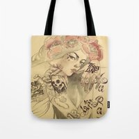 mucha Tote Bags featuring mucha chicano by paolo de jesus