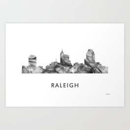 Raleigh, North Carolina Skyline WB BW Art Print