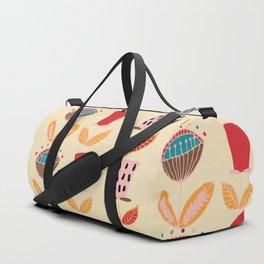 Mid- Century Modern Beige Flowers Pattern Duffle Bag