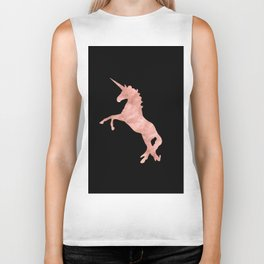 Unicorn Pink Rose Gold Black Biker Tank