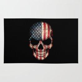 American Flag Skull on Black Rug