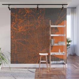 Detroit map orange Wall Mural