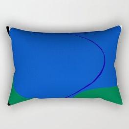 blue flower leaf black white striped rose Rectangular Pillow