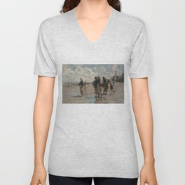 Fishing for Oysters at Cancale - John Sargent Unisex V-Neck