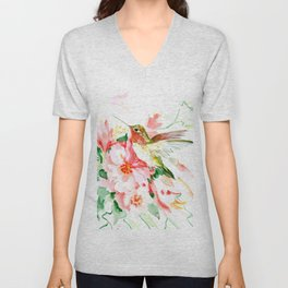 Hummingbird, Hawaiian Design, Hibiscus and Hummingbird Unisex V-Neck