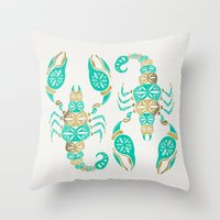 Throw Pillows featuring Scorpion – Turquoise & Gold by Cat Coquillette