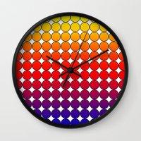 polka dot Wall Clocks featuring Rainbow Dot Candy Polka dot by ForgottenCotton