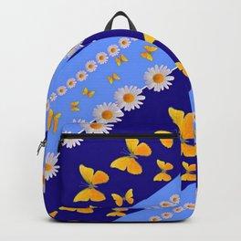 BLUE ART YELLOW BUTTERFLIES & WHITE DAISIES  DIAGONAL STRIPES Backpack