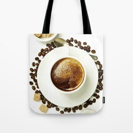 Top view of a cup of coffee, isolate on white Tote Bag