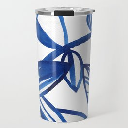 Navy blue and lime green abstract leaves Travel Mug