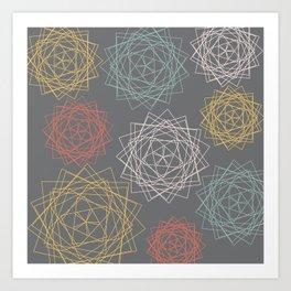 Dark Pastel Origami Blooms Art Print