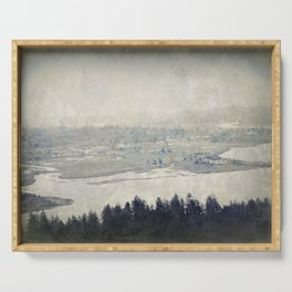 antiqued view from the Astoria Column Youngs Bay Serving Tray