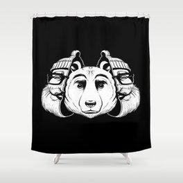 Bear Inside Black And White Shower Curtain