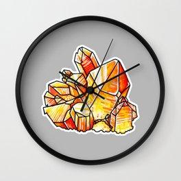 Tangerine Quartz Crystals Wall Clock