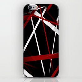 Seamless Red and White Stripes on A Black Background iPhone Skin