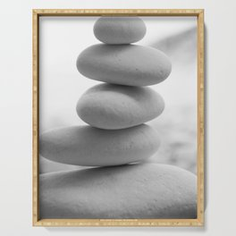 Zen beach rocks print, balancing rocks, mnimalist Beach decor, wall art Serving Tray