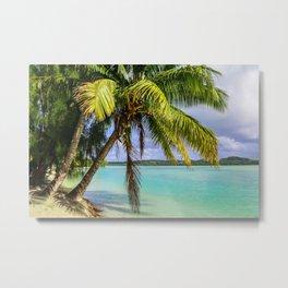 Palm Trees on the Beach Metal Print